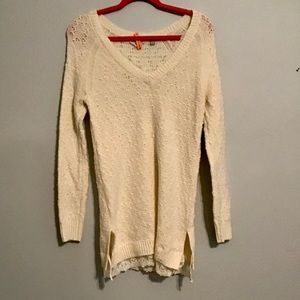 Anthropologie Lace Cream Sweater